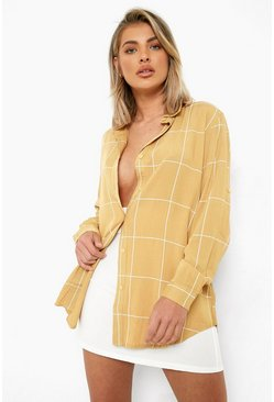 Camel Large Grid Oversized Shirt