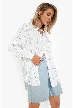 White Large Grid Oversized Shirt