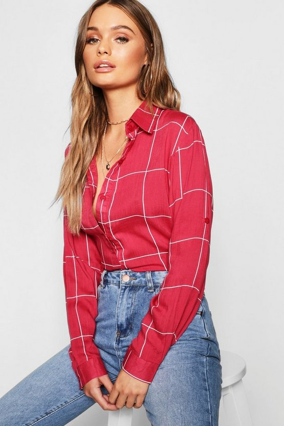 Womens Wine Large Grid Oversized Shirt