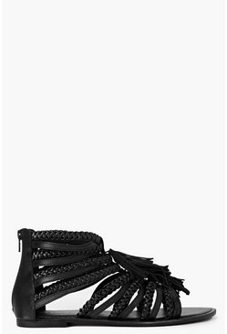 Womens Black Boutique Multi Fringe Sandals