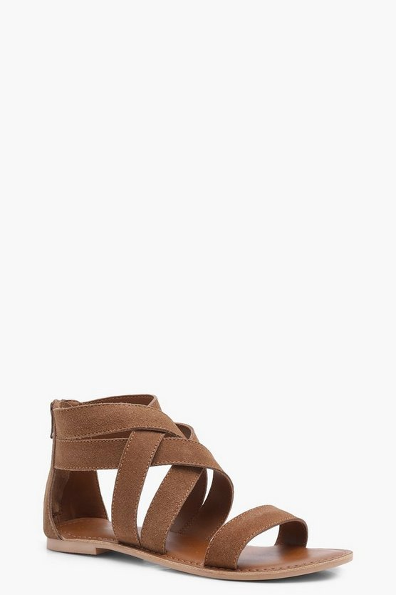 Multi Strap Gladiator Suede Sandals