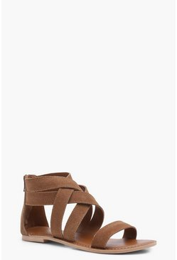 Womens Multi Strap Gladiator Suede Sandals