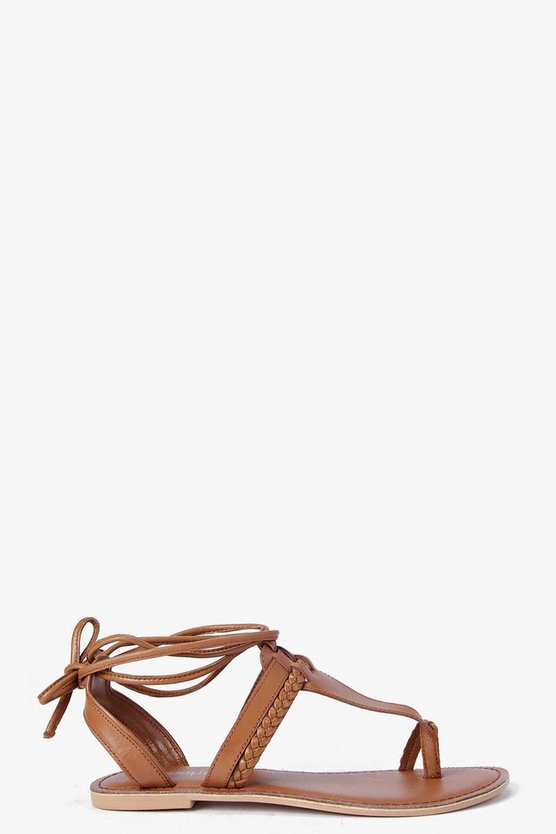 Womens Tan Boutique  Toe Post Ghillie Sandals