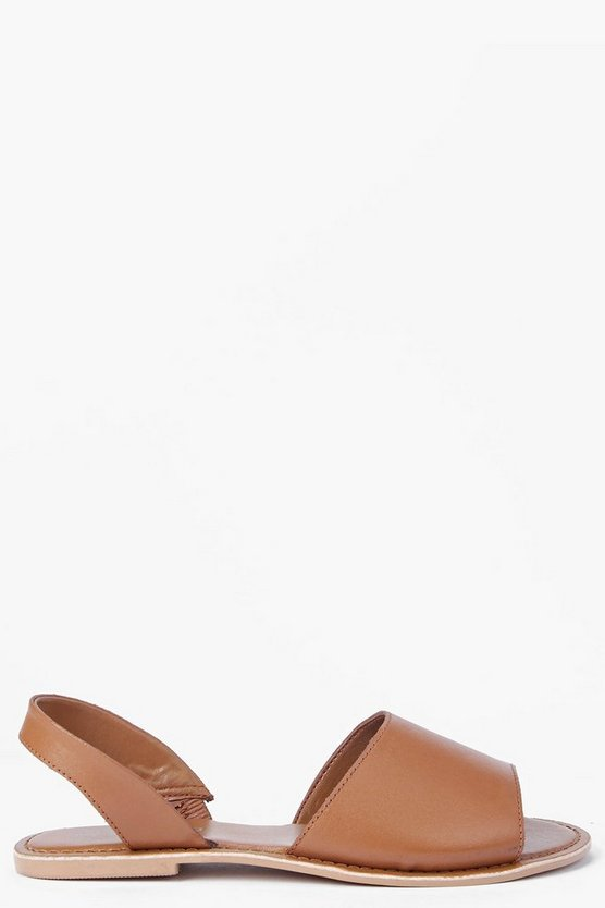 Boutique 2 Part Peeptoe Leather Sandals