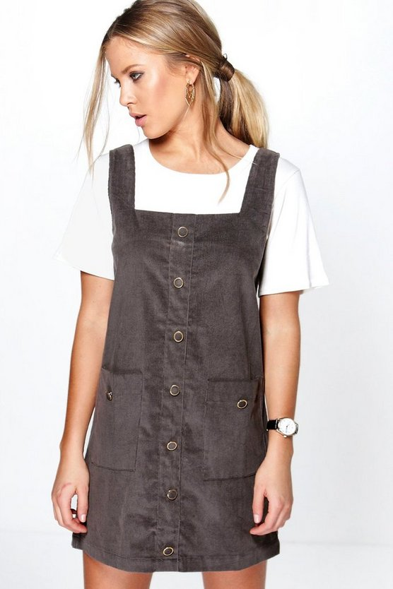 Womens Grey Carrie Cord Pocket Pinafore Dress