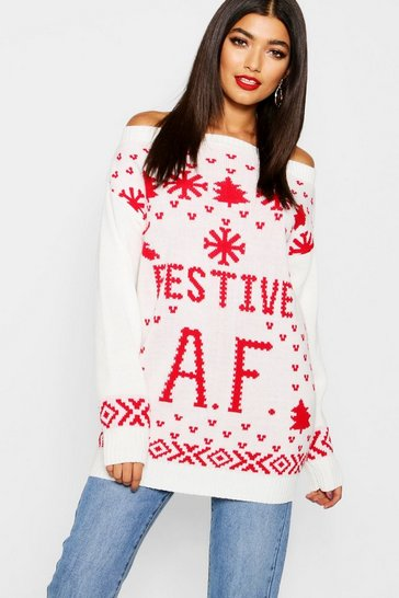 Womens Cream Festive AF Slogan Christmas Jumper