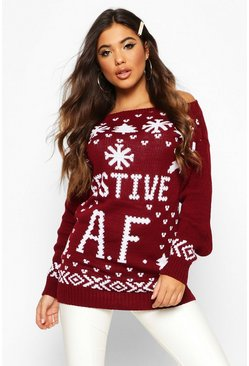 Womens Wine Festive A.F. Christmas Sweater
