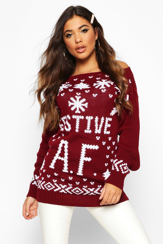 Wine Christmas Sweater.Festive A F Christmas Sweater Boohoo