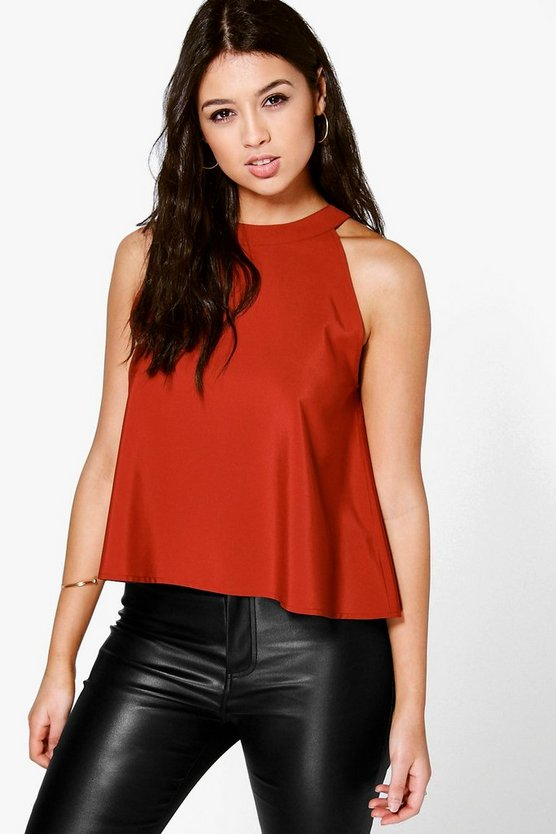 Rita Woven High Neck Swing Top
