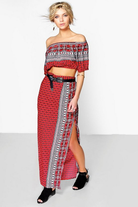 Womens Red Hayley Border Print Maxi Co-Ord Set