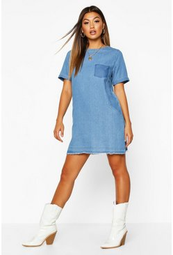 Vestido holgado con bolsillo Denim, Light blue
