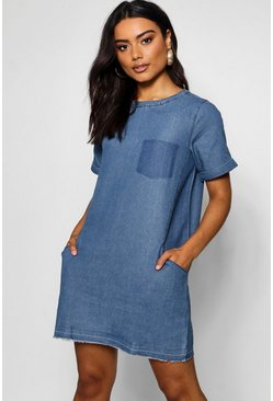 Womens Mid blue Slouch Pocket Denim Dress