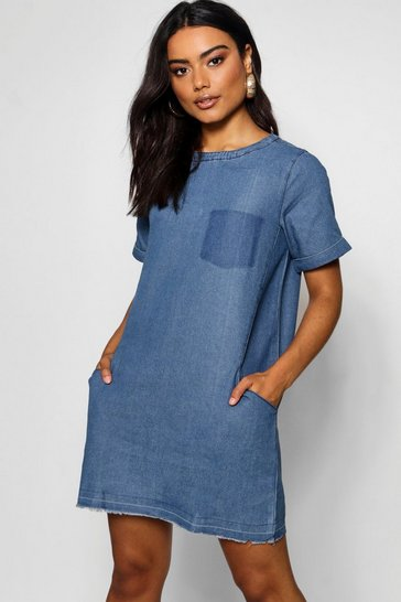 Mid blue Slouch Pocket Denim Dress