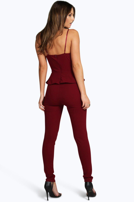 Boohoo Womens Peplum Style Skinny Leg Jumpsuit Ebay