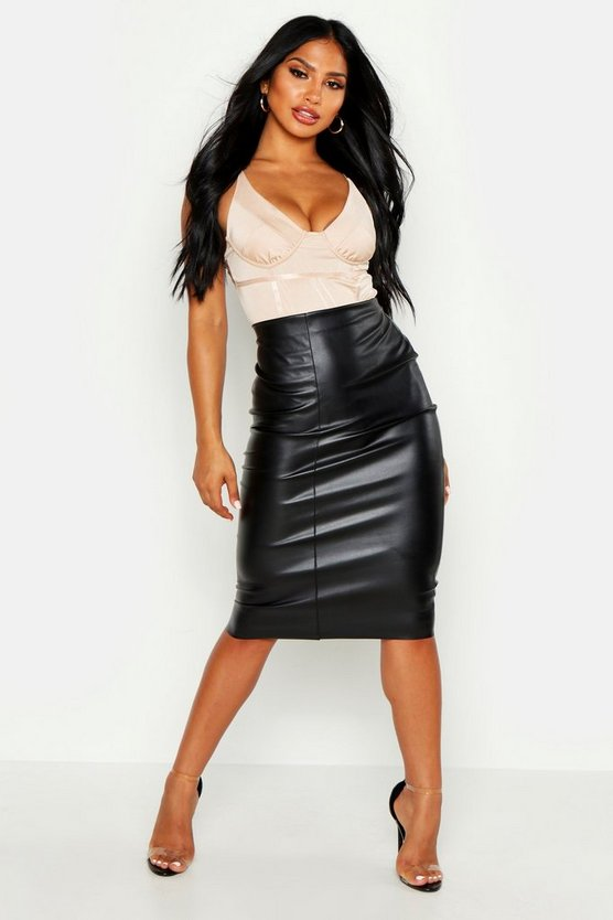 Womens Black Loren Leather Look Midi Skirt