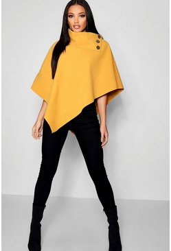 Womens Mustard Cape With Buttons
