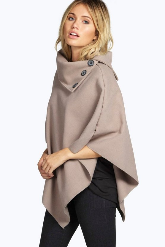 Womens Stone Cape With Buttons
