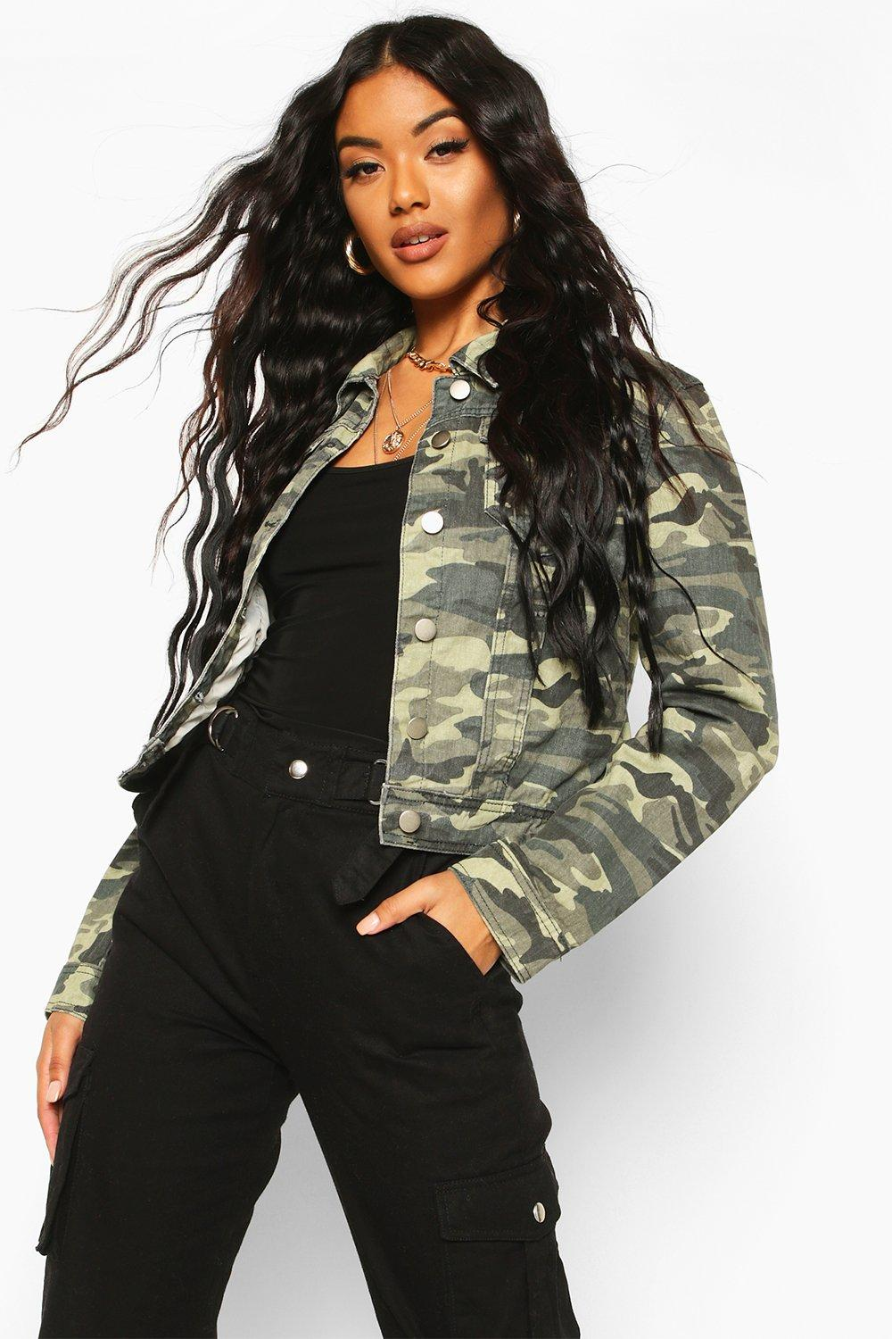 d4dd3a9078601 Womens Khaki Camouflage Denim Jacket. Hover to zoom