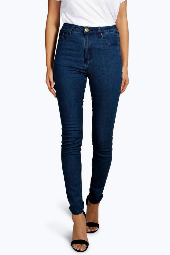 Womens Dark blue High Waisted Skinny Jeans