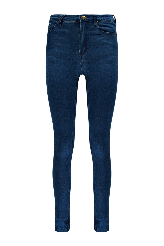 oscuro alta skinny Jeans cintura de azul wPOaXCq