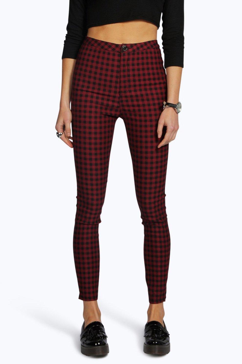 8e43324169a49 Lara High Rise Gingham Denim Skinny Jeans | Boohoo