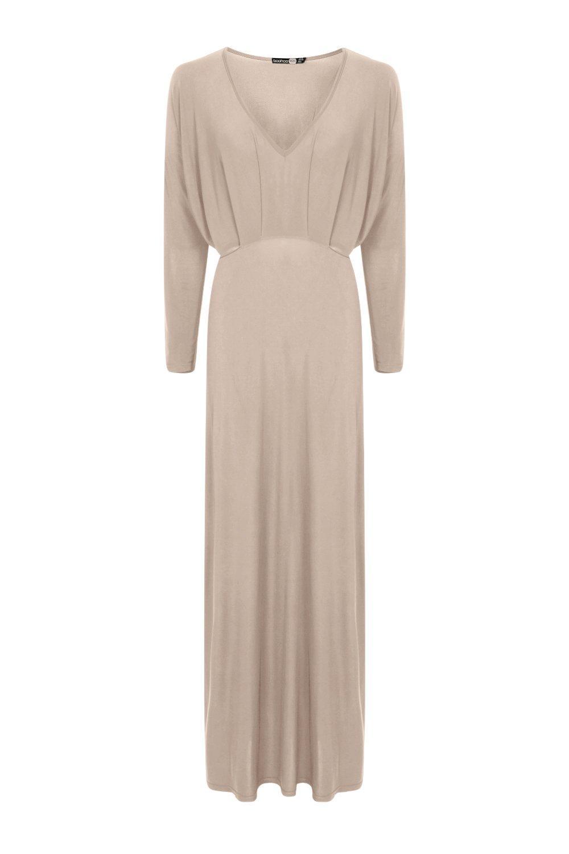 boohoo leah robe maxi pr s du corps manches longues et d collet plongeant ebay. Black Bedroom Furniture Sets. Home Design Ideas