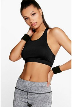Black Fit Performance Yoga Laser Cut Sports Bra