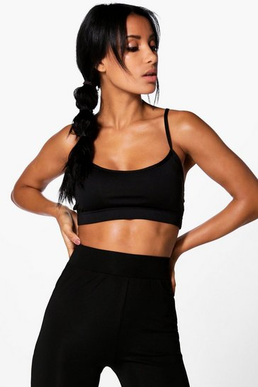 Womens Black Fit Performance Cross Strap Sports Bra