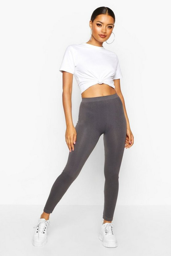 Womens Grey Basic Supersoft Leggings
