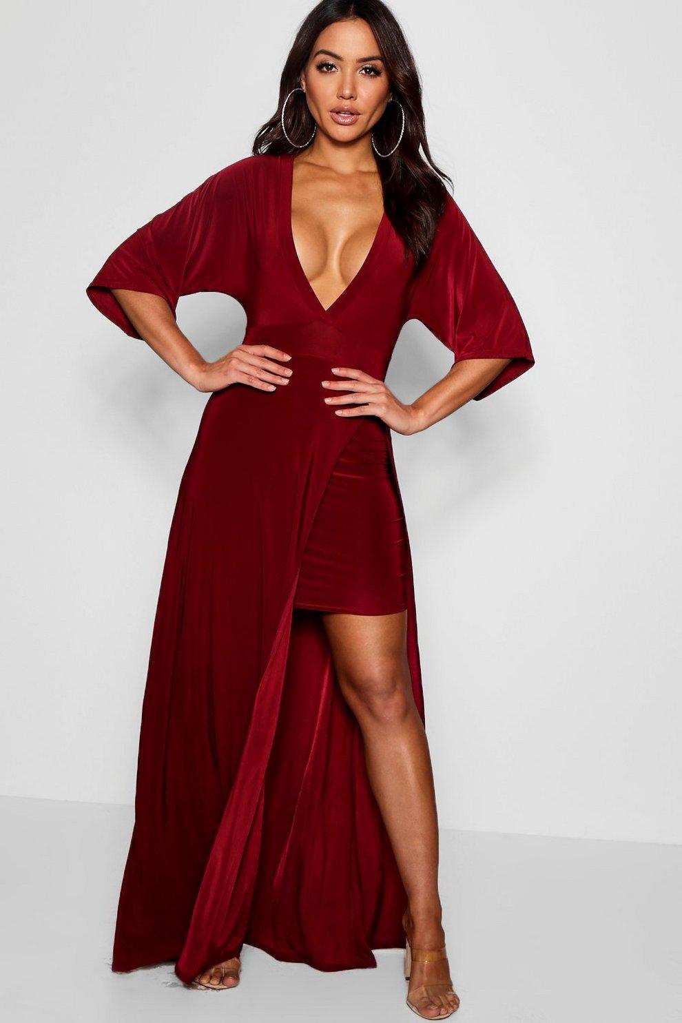 07709219dc2d Slinky Plunge Kimono Sleeve Maxi Dress | Boohoo