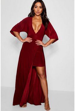 Womens Berry Slinky Plunge Kimono Sleeve Maxi Dress