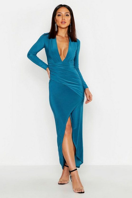 Plunge Rouched Detail Maxi Dress