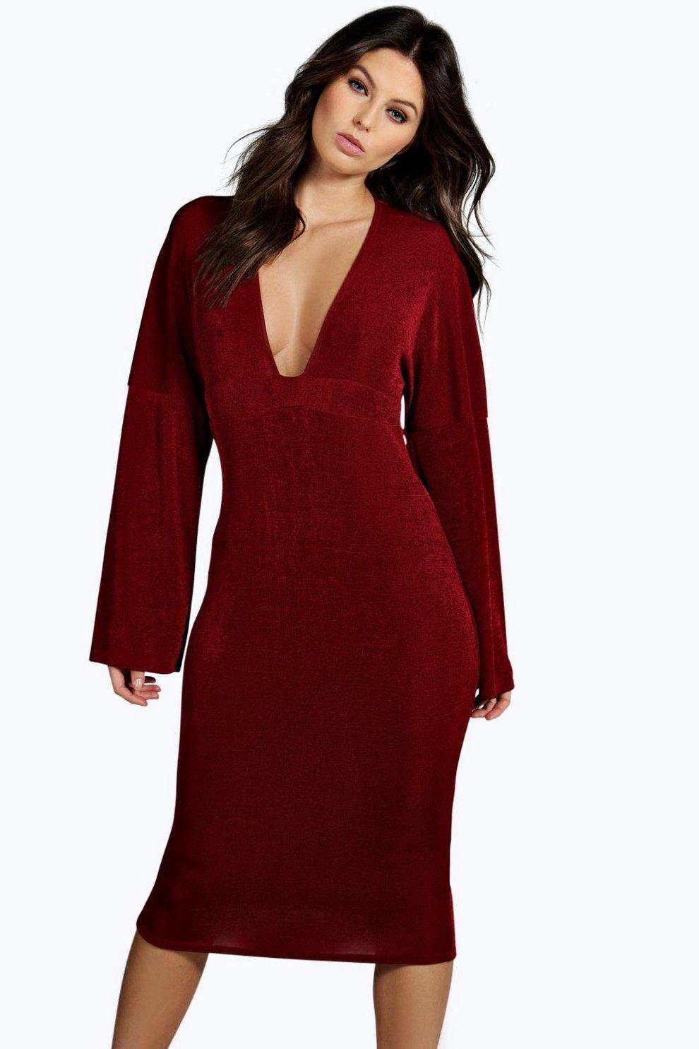 687d95d31ee4 Amelie Plunge Neck Kimono Sleeve Midi Dress | Boohoo
