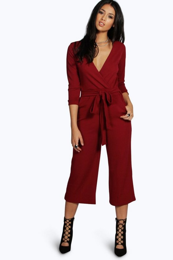 Womens Berry Roll Sleeve Relaxed Culotte Jumpsuit