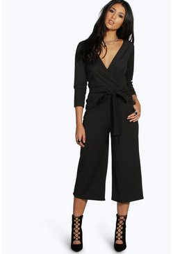 Black Roll Sleeve Relaxed Culotte Jumpsuit