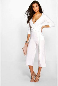 Womens Ivory Roll Sleeve Relaxed Culotte Jumpsuit