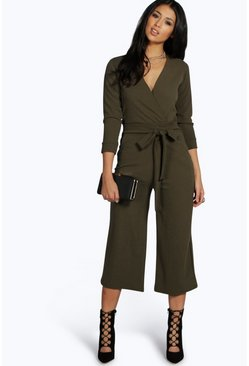Khaki Roll Sleeve Relaxed Culotte Jumpsuit