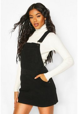 Womens Black Denim Overall Pinafore Dress