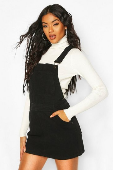 Womens Black Denim Dungaree Pinafore Dress