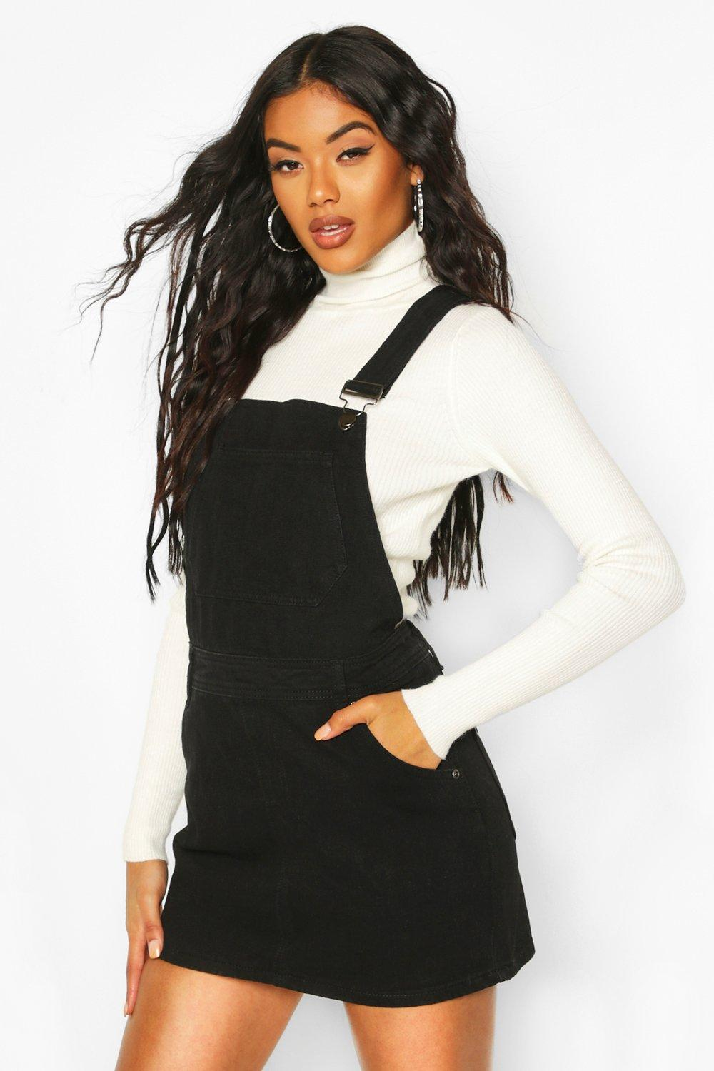 2b62943ea44f3 Womens Black Denim Dungaree Pinafore Dress. Hover to zoom