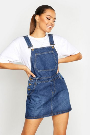 Womens Blue Denim Dungaree Pinafore Dress