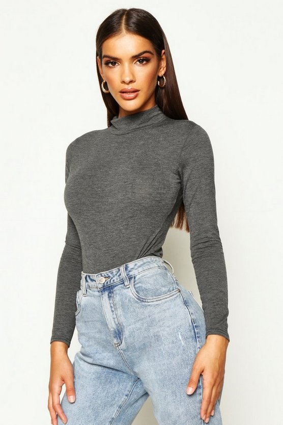 Charcoal Basic Turtle Neck Long Sleeve bodysuit
