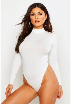 Womens Cream Basic Turtle Neck Long Sleeve bodysuit