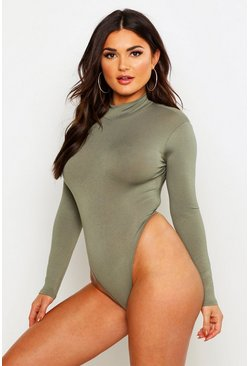 Womens Khaki Basic Turtle Neck Long Sleeve bodysuit