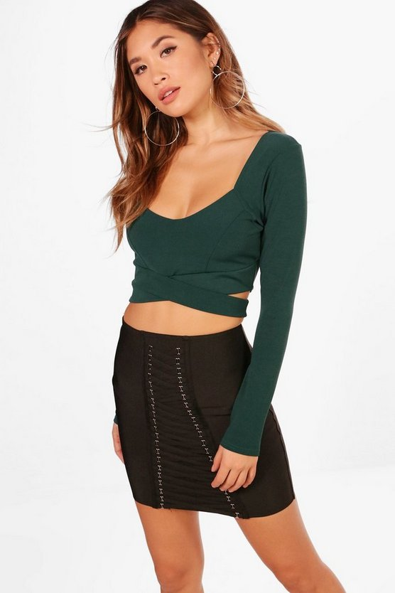 Long Sleeve Cut Out Crop Top