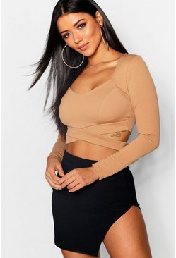 Womens Camel Long Sleeve Cut Out Crop Top