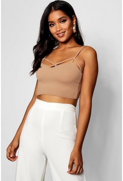 Camel Strappy Front Bralet