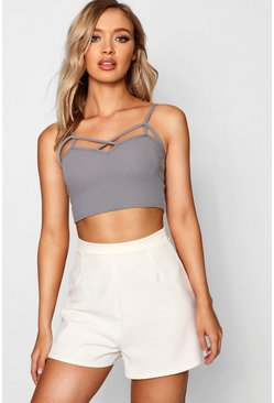 Womens Grey Strappy Front Bralet