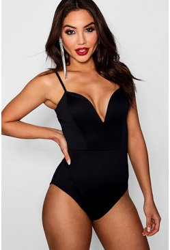 Womens Black Deep Plunge Strap Bodysuit