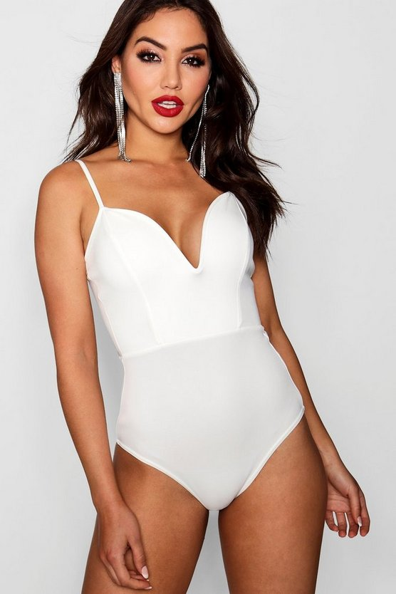Womens White Deep Plunge Strap Bodysuit